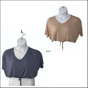 Olivia Rae Cropped front tie shirts (set of 2)